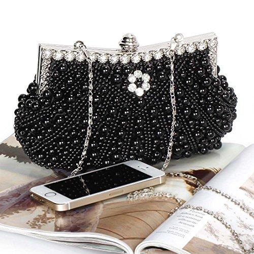 Noir Fashion Womens Black Bead Rhinestone Cascading Bmc Pearl Purse Faux Clutch Evening 8vdq4