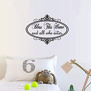 Bless This Home and All Who Enter Wall Sticker Vinyl Art Quotes Home Background Wall Decal Decor (23.6''x11.8'')