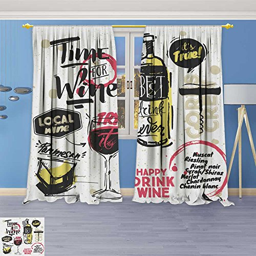 SOCOMIMI Twigs Fashion Design Print Thermal Insulated Blackout Curtain Sketched Styled Wine Elements Wine Bottle Cheese Wine Bubbles Corkscrew White with Tops for Bedroom 72W x 72L inch