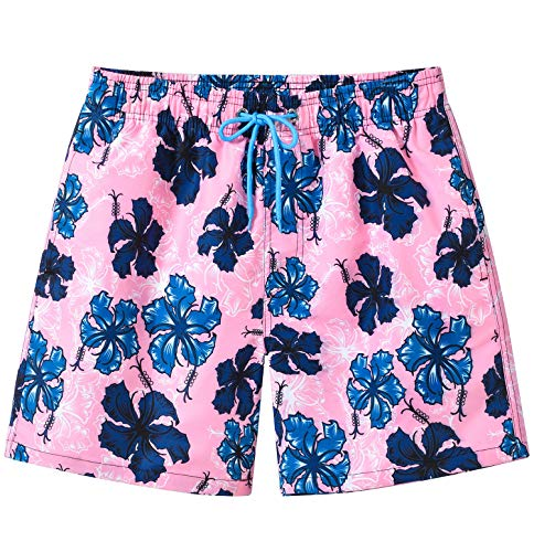 YuKaiChen Mens Swim Trunks with Mesh Lining Quick Dry Bathing Suits Pink US 32/Tag Asia L