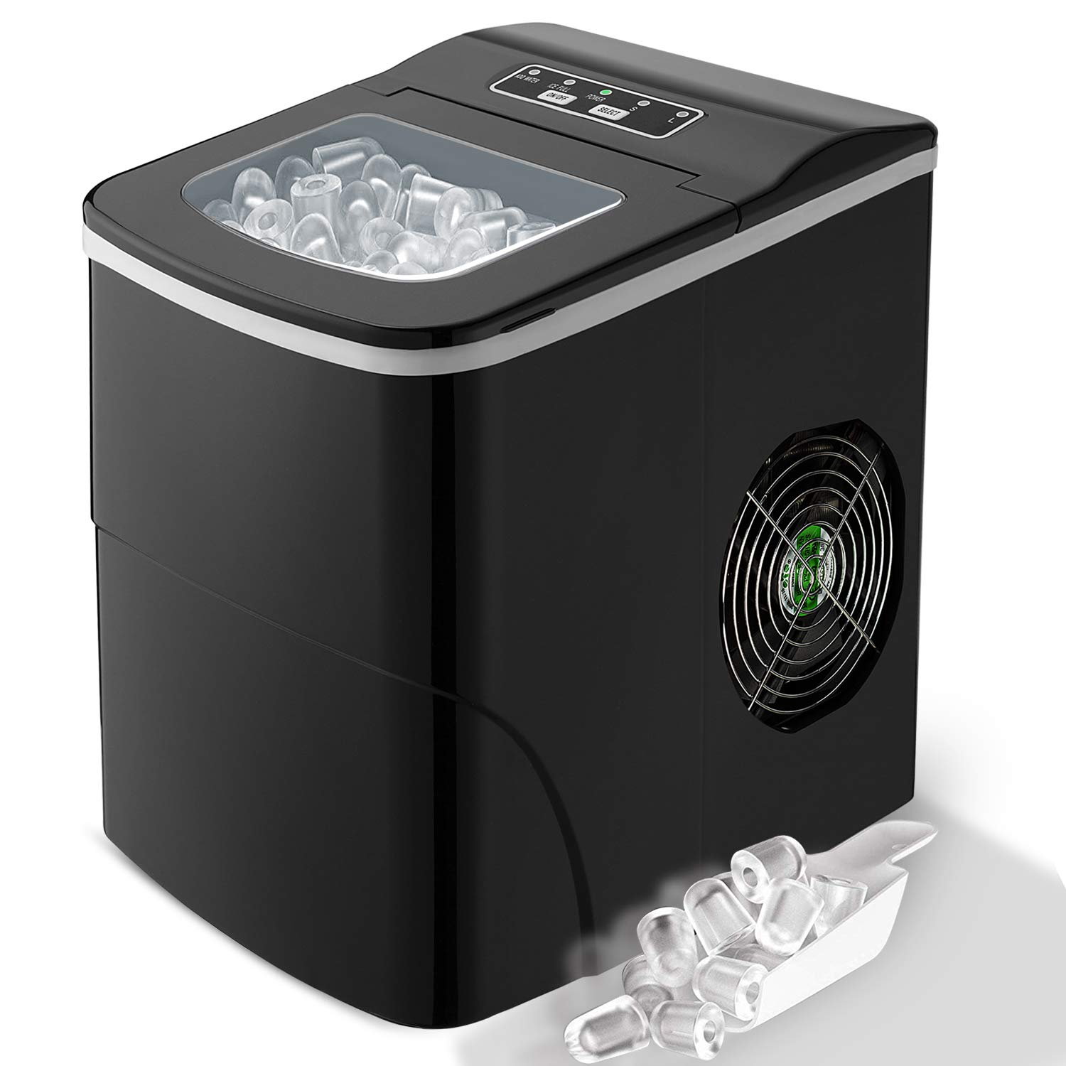 LED Display. Countertop Ice Maker Produce 9 Bullet-Shaped Ice Cubes in 7-9 Minutes with Scoop and Basket FEANOR Electric Ice Maker Machine Silver Portable Ice Maker Making Ice 26lbs//24hrs