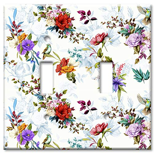 (Art Plates 2 Gang Toggle Wall Plate - Colorful Roses and Birds)