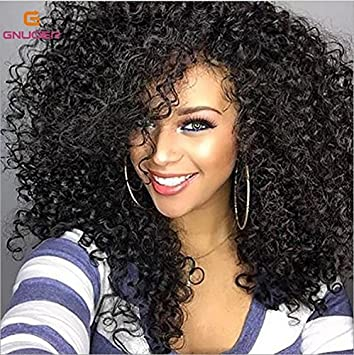 Kinky Haned Rizado el Cabello Afro Pelucas sintéticas para la Mujer Negra Corta Negra Peluca,