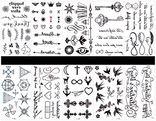 SPESTYLE 10pcs tattoo swallow tattoos waterproof and non toxic real fake tattoos in 1 packages,including Swallow,totem designs,English Word,etc.