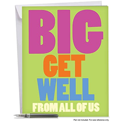 amazon com get well soon card with envelope 8 5 x 11 big get