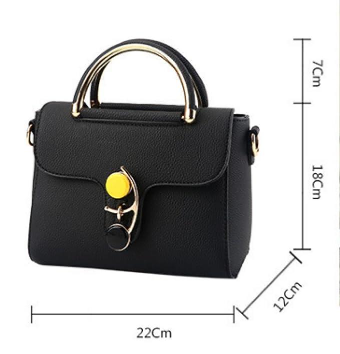 Frauen PU-Leder Mode Große Kapazität Anti-Diebstahl Handtasche Einzelne Schulter-Umhängetasche Tasche,Black-22*12*18cm Addora