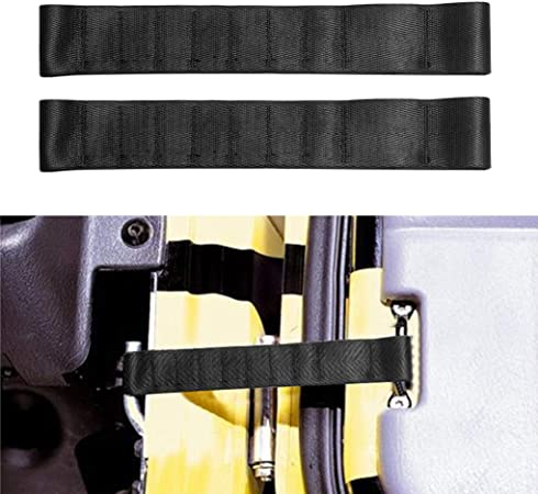 Set of 2, Black Heavy Duty Strong Adjustable Door Limiting Check Strap Protector Compatible with Jeep Wrangler Black Pack of 2