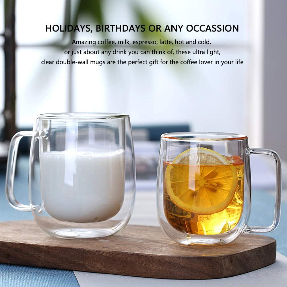 Double Walled Espresso Cup Cappuccino Beverages Tea HKKAIS 8.5OZ Glass Coffee Mug Clear Borosilicate Glass Mug for Latte Ice Coffee Double Wall Insulated Coffee Cup with Handle