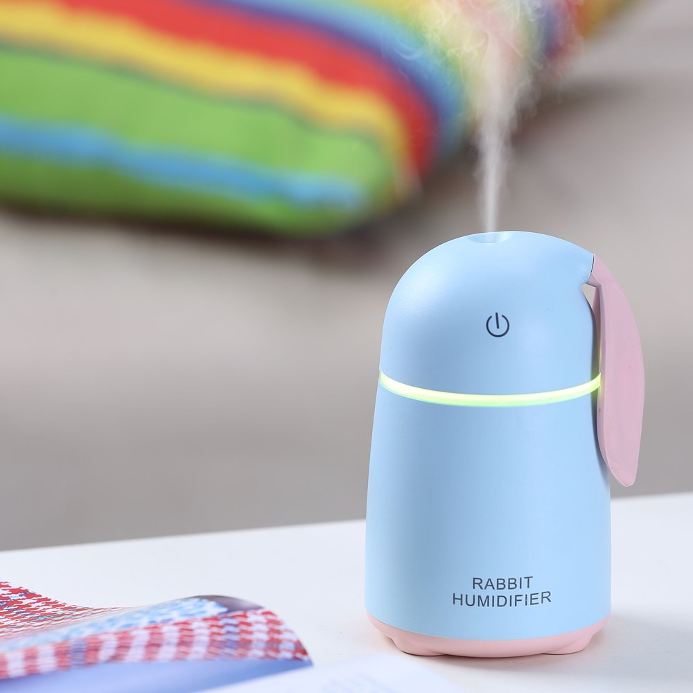 White Mini Cool Mist Ultrasonic Air Humidifier,Mini Size Cactus Humidifier for Bedroom Home Office Car
