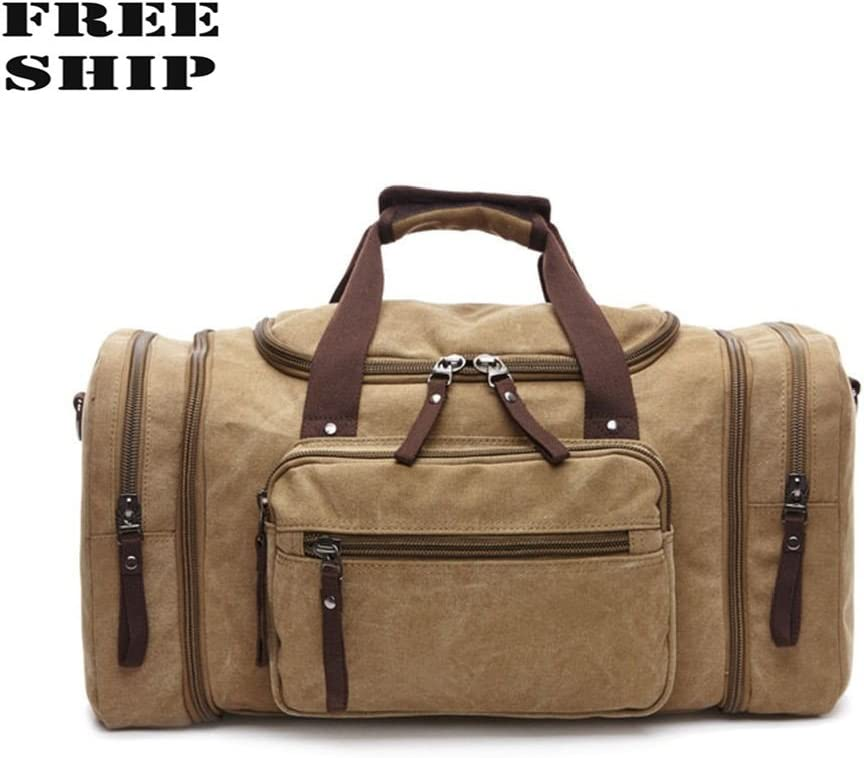 Canvas Travel Tote Luggage Large MenS Weekend Gym Shoulder Duffle Bag /& Strap