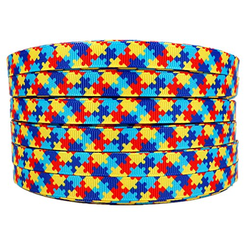 Puzzle Piece Ribbon - 50 Yards/roll 3/8 Inch Autism Awareness Puzzle Printed Grosgrain Ribbon Hair Craft Supplies
