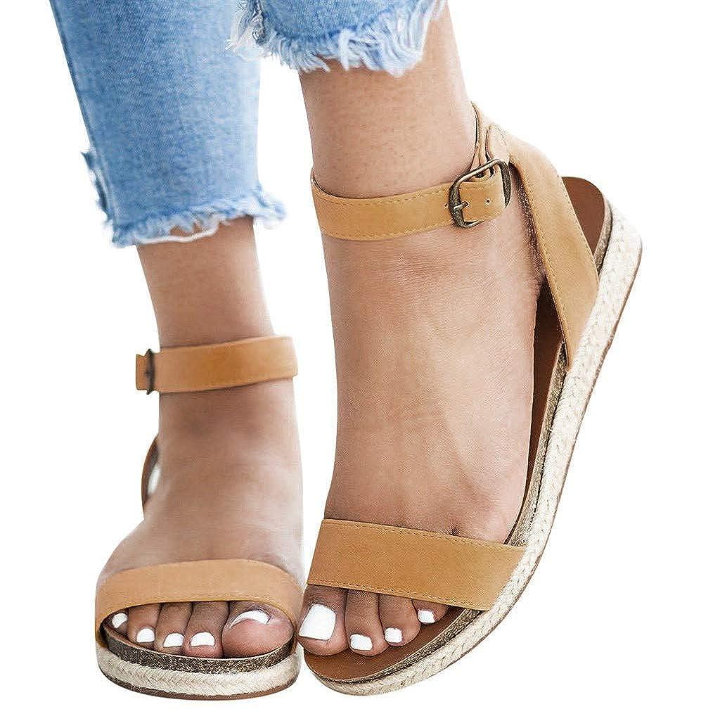 Nevera Sandals for Women Flatform Cork Espadrille Wedge Sandals Summer Buckle Ankle Open Toe Roman Shoes