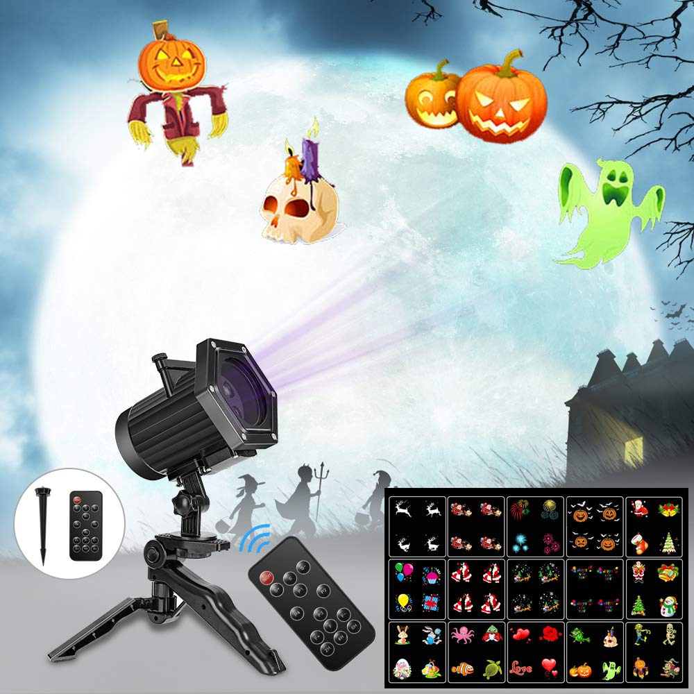 Comkes Christmas Projector Lights, 15 Patterns LED Projector Lights Waterproof Dynamic Outdoor Christmas Lights Spotlights Decoration for Christmas, Halloween,New Year,Outdoor/Indoor Use by Comkes