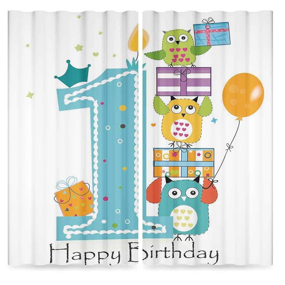 1st Birthday Decorations Door Curtain,First Cake Candle Owls Family with Box Party Theme,for Living Room, 2 Panel Set, 28W X 39L Inches