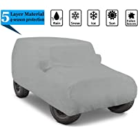 iiSPORT Heavy Duty 5-Layer Waterproof Jeep Wrangler Unlimited SUV Cover - UV Protection Breathable 2-Door Car Cover…