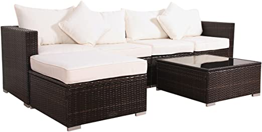 Svita California-Plus - Conjunto de muebles de jardín de ratán sintético, con marco de aluminio, tamaño XL: Amazon.es: Hogar