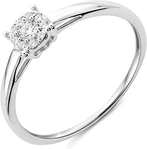 Miore Women S 9 Carat White Gold Diamond Engagement Ring With Diamonds 0 10 Carat Amazon De Schmuck