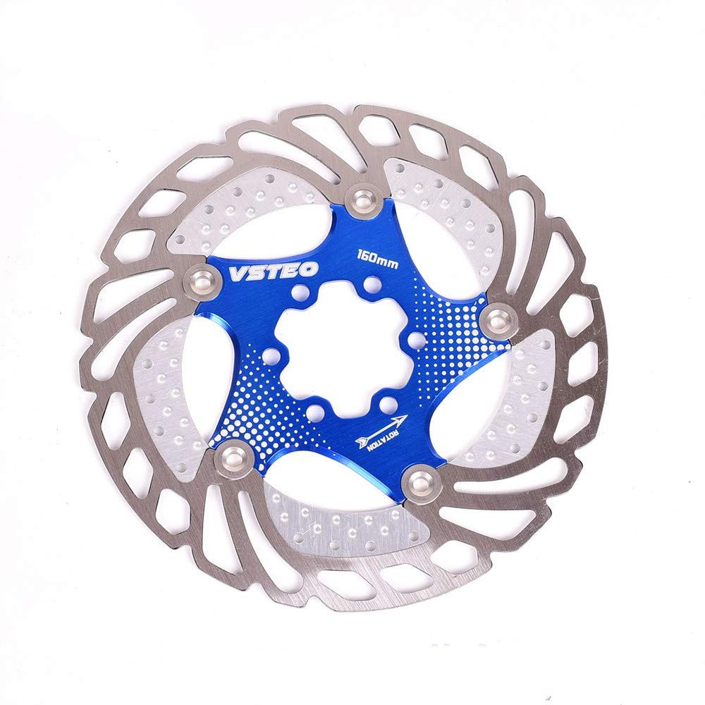 TAESOUW-Sports Mountain Bike Card Type Cooling Floating Disc Six Hole Brake Disc 160mm Six Inch Disc Brakes Accessories (Color : 180MM Blue) by TAESOUW-Sports