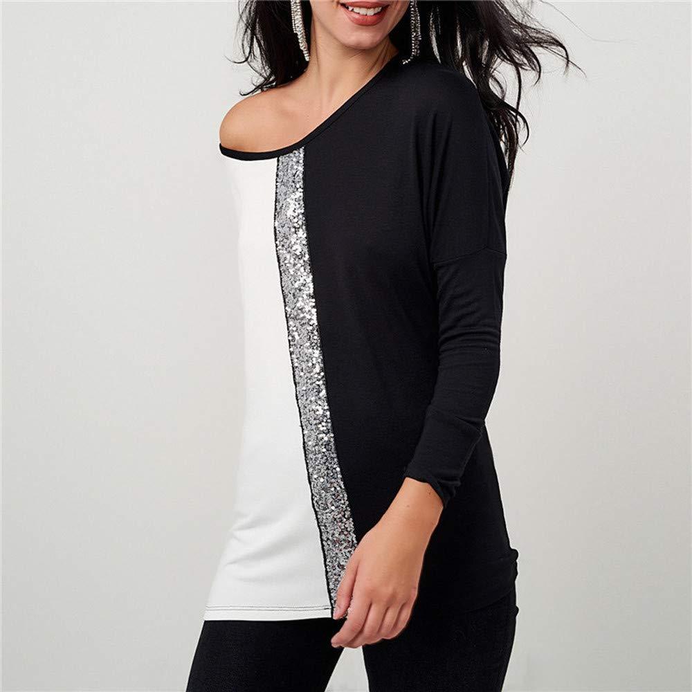 Camiseta de Lentejuela Casual de Mujer,Cuello de la Correa de Manga Larga de Las Mujeres Lentejuelas Contraste de Color Camiseta Sexy Moda Camisa Elegante ...