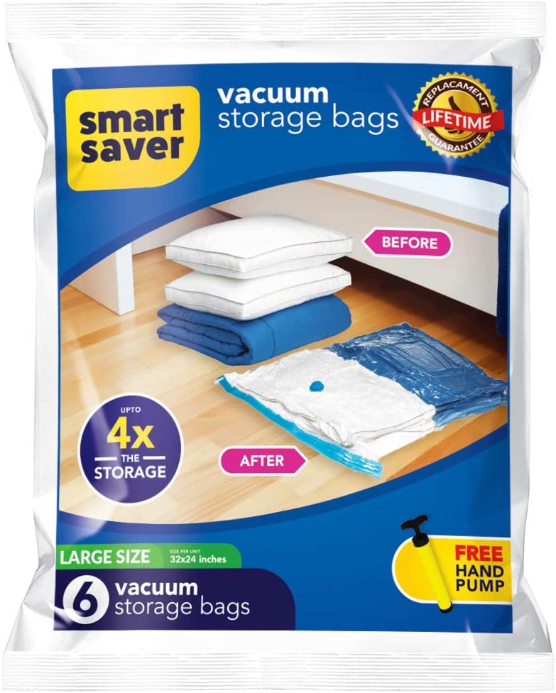 Bigtime Ent SmartSavers Ziplock Vacuum Storage Bags, Reusable Space Saver Bags for Clothes, Comforters, Blankets, Pillows, Bedding Packing (6 Large-(32 X 24) INCH)