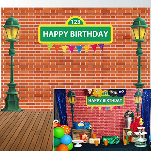 Allenjoy 7x5ft Brick Wall Street Backdrop High Cartoon Photography Backdrops First 1st Girl boy Birthday Party Background Party Decors Decorations Baby Shower Photo Shoot Booth]()
