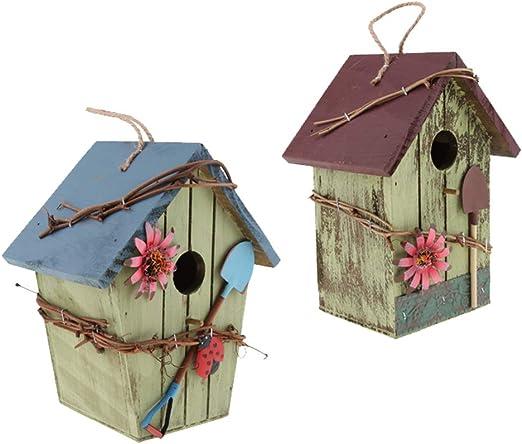 FLAMEER 2 Piezas Casa de Madera para Pájaro, Nido para Pájaros Casita Decoración de Jardín, Terraza o Balcón: Amazon.es: Productos para mascotas