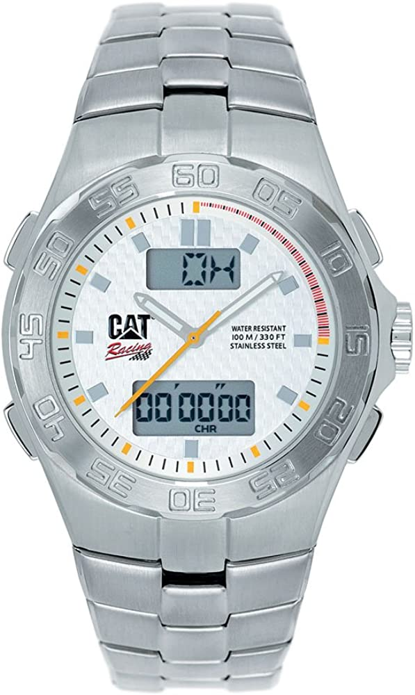 Caterpillar Champion CA1619 - Reloj de Caballero de Cuarzo, Correa de Acero Inoxidable Color Plata