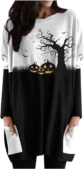 Fainosmny Knit Sweater Dresses for Womens Halloween Ghost Pumpkin Shirt Face Costume Long Sleeves Tops Blouse