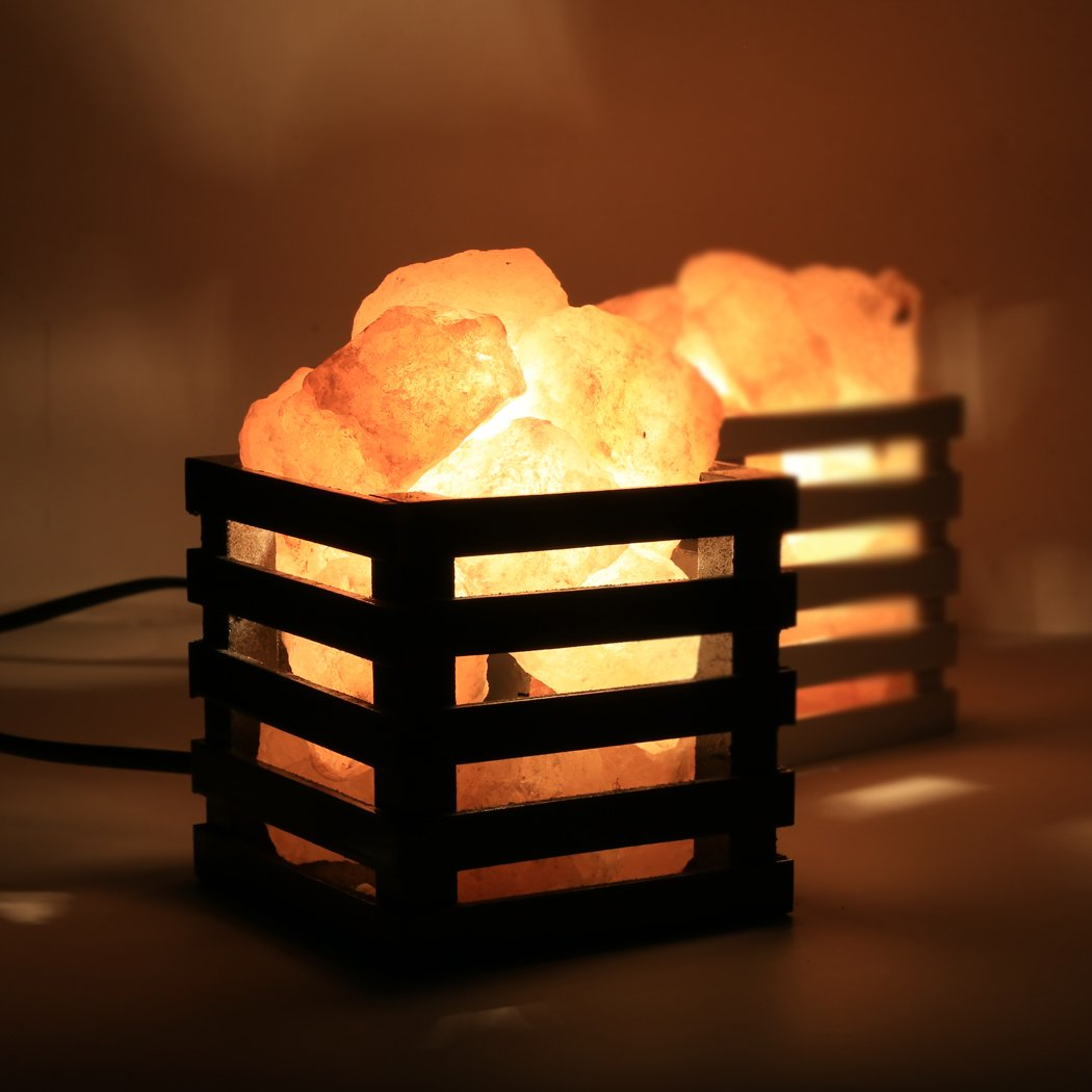 SAILNOVO Dimmable Himalayan Salt Lamp with Wooden Basket, UL-listed Power Line & Socket, Amber White for Ambiance Lighting, Decoration, Yoga, Purifying Air, 3.94×3.94×4.65inch (Black)