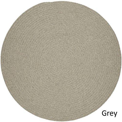 Rhody Rug Woolux Wool Braided Rug - 8' Round Light Grey