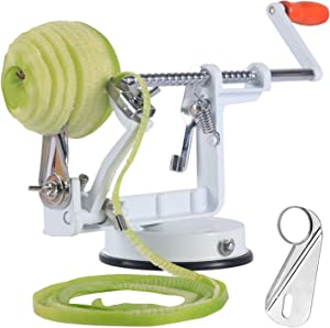 Apple peelers, Apple Peeler Slicer Apple Peeler and Corer with Suction Base 3 in 1 Slinky Machine Durable Heavy Duty Die Apple Peelers Made In USA (White)