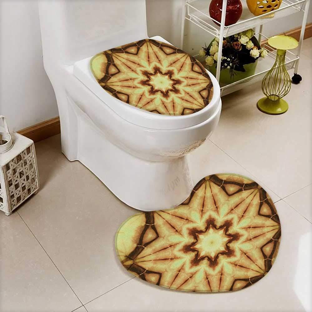 L-QN Non-Slip Bath Toilet Mat Decor Trippy Ethnic Thai Mandala Motif Dirty Grunge Smear Rough Stains in Bathroom Accessories by L-QN