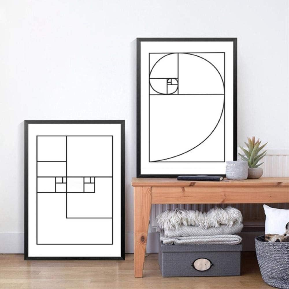 Carteles e impresiones minimalistas geométricos de la línea de proporción áurea, cuadros de la pintura de la lona del arte de la pared decoración de la pared del hogar 50x70cmx2 sin marco