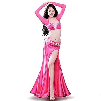 b37e30853e0 ROYAL SMEELA Belly Dance Costume for Women Belly Dancing Skirts Bra and Belt  Sleeves 4pcs Mermaid