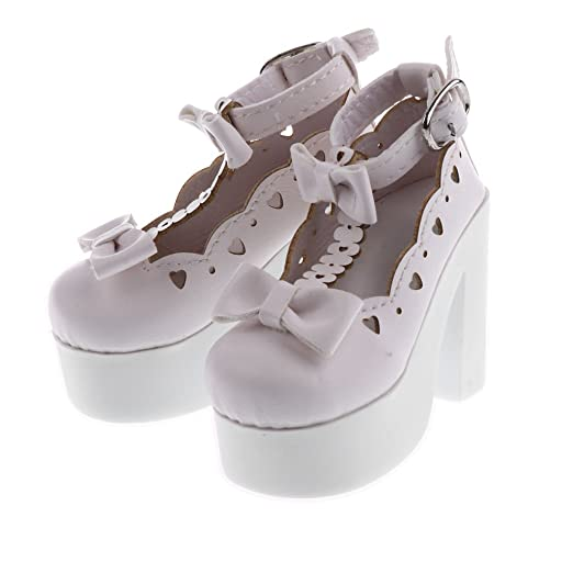 8a3b8ca4161c Amazon.com  Baoblaze Cute Doll Bowknot Strappy Platform PU Leather High  Heel Shoes for 1 3 BJD SD Lolita DD DOA YOSD Dress Up White