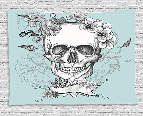 Grunge Home Decor Tapestry by Ambesonne, Skull and Flowers Day of the Dead Mexican Traditional Celebration Symbolic Art, Wall Hanging for Bedroom Living Room Dorm, 80 W X 60 L, Turquoise and White - Day Of The Dead Clothes Ideas