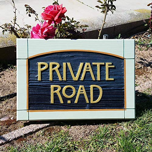 Private Road Sign sandblasted cedar