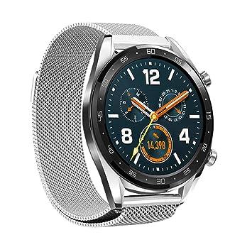 Leafboat pour Bracelet Huawei Watch GT, Bracelet métal de Rechange à Fermeture magnétique réglable Bracelet