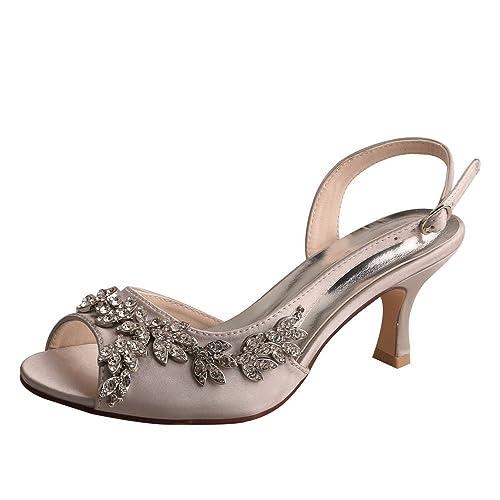 33db2f8bf23f5 Wedopus MW13105 Women's Peep Toe Mid Heels Slingback Wedding Dress Sandals  Crystal Evening Party Sandals Size