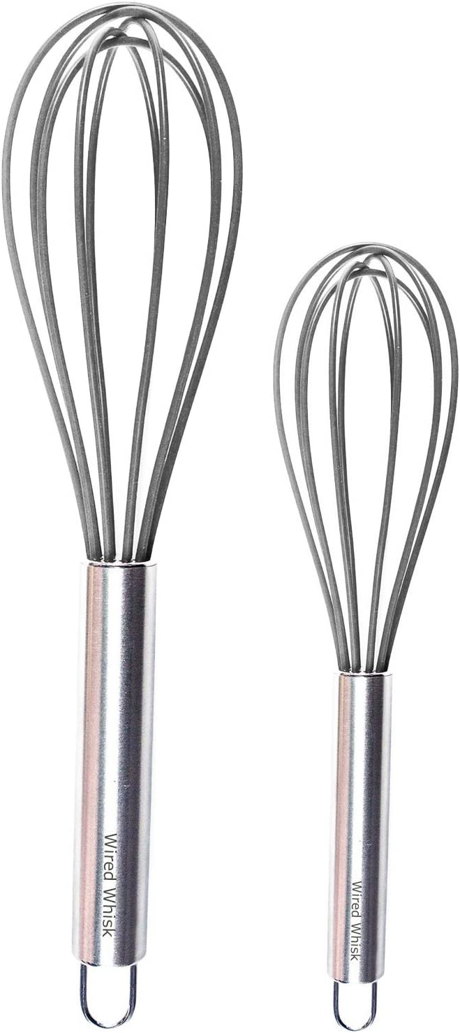 Wired Whisk Silicone Whisk Set of 2 - Stainless Steel & Silicone Kitchen Utensils for Blending, Whisking, Beating & Stirring - (12-inch, 10-inch & 8.5-inch (Two Gray)