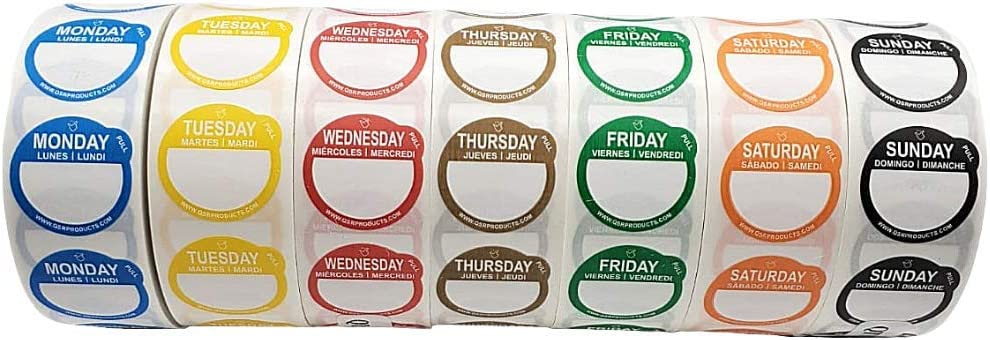 QSRProducts Removable Day Label - 1 inch - Peel Tab - Week (Mon-Sun) (7000 Stickers) - Food and Restaurant Day Dots - FIFO - Inventory Management Labels