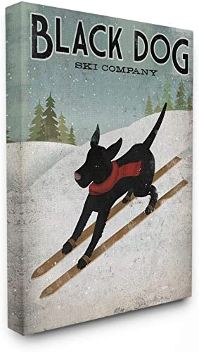 Stupell Industries Black Dog Ski Company Winter Sports Pet Sign Wall Art