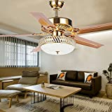 RainierLight Modern Crystal Ceiling Fan Lamp LED 3 Changing Light 5 Reversible Blades Frosted Glass Cover with Remote Control for Indoor/Bedroom 52-Inch Mute Energy Saving Fan (Metal Blades)