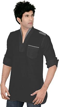 MapleClothing Indian Shirt Ropa Moda Hombres Short Kurta Linen Cotton India Vestidos