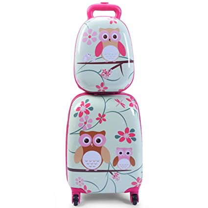 b42c29ed7e Costway ABS Kids Luggage Set 12   Backpack 16   Suitcase Children Boys  Girls Travel School Trolley Case (Green)  Amazon.co.uk  Luggage