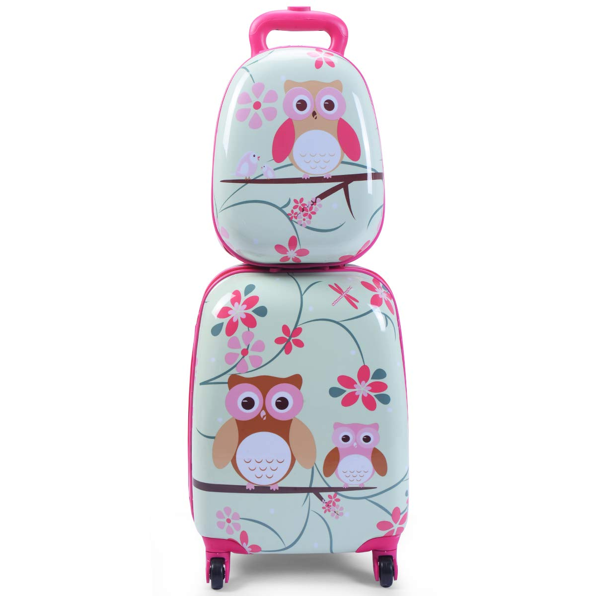 Goplus 2Pc 12'' 16'' Kids Carry On Luggage Set Upright Hard Side Hard Shell Suitcase School Travel Trolley ABS (Owls) by Goplus