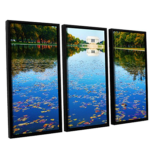 - ArtWall 3 Piece Steve Ainsworth's Lincoln Memorial and Reflecting Pool I Floater Framed Canvas Set, 36 x 54