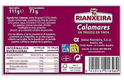 Rianxeira, Conserva de calamares en trozos en tinta - 12 latas de 115 gr. (Total: 1380 gr.): Amazon.es: Alimentación y bebidas
