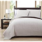8 Piece Project Runway QUEEN Size Ivory / Chocolate Color Super Luxurious Wrinkle Free Coverlet Bedspread Quilt Set with Pillow Shams, Includes Bonus White Bed Sheet Set and Goose Down Alternative Comforter, 100% MICROFIBER