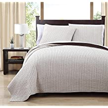 8 Piece Project Runway CAL (CALIFORNIA) KING Size Ivory / Chocolate Color Super Luxurious Wrinkle Free Coverlet Bedspread Quilt Set with Pillow Shams, Includes Bonus White Bed Sheet Set and Goose Down Alternative Comforter, 100% MICROFIBER